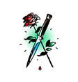 a tattoo featuring a knife and a rose tattoo in vector image vector image