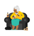 african american grandmother drinks alcohol smoke vector image vector image
