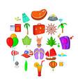 asian beach icons set cartoon style vector image vector image
