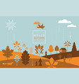 autumn bannerfall leaves bird flying with umbrel vector image