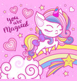 believe in magic a beautiful rainbow unicorn vector image vector image