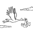 Black and white stork with baby vector image vector image