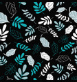 black tossed floral and leaves mix pattern vector image