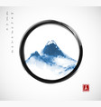 blue mountains hand drawn with ink in black enso vector image vector image