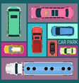 cars different size and color seamless pattern vector image