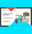 cartoon coworking place landing web page template vector image vector image
