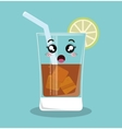 cartoon glass beverage drink lemon design isolated vector image