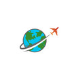 circle earth planet airplane creative logo vector image