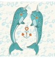 Couple of narwhals in love vector image vector image