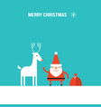 cute santa claus and christmas deer modern flat vector image vector image