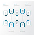 decor icons line style set with wardrobe fridge vector image