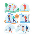 different weather women flat isolated vector image