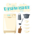 dishwasher appliance and kitchen dishware vector image