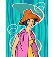 Fashion retro girl in the sun hat vector image vector image