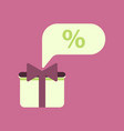 flat icon of gift box discount vector image vector image