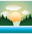 forest landscape picture isolated icon vector image