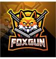 fox gun esport mascot logo design vector image vector image