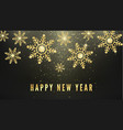 golden snowflakes greeting text isolated on black vector image vector image