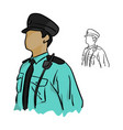 half portrait asian policeman vector image
