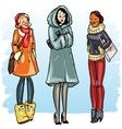 Happy women in winter clothing vector image