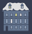 house at night with rocovered with snow vector image vector image