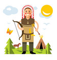 indian with bow and arrow flat style vector image vector image