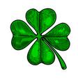 leaf clover in engraving style design element vector image