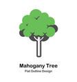 mahogany tree outline flat vector image vector image