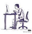 Man works hard on the computer vector image
