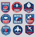 mars mission space emblems astronaut vector image vector image