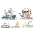 motor ship in the sea summer adventure active vector image vector image