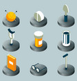 old age color isometric icons vector image