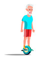 old man on hoverboard riding on gyro vector image