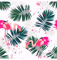 pink flamingo tropical leaves seamless pattern vector image vector image