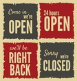 Retro open closed Posters vector image vector image