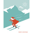 santa skiing downhill in high mountains vector image