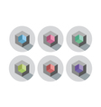 Set of isometric cubes with different color inside vector image vector image