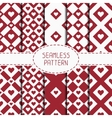 Set of red romantic geometric seamless pattern vector image vector image
