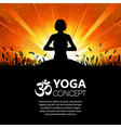 silhouette a girl in yoga pose vector image