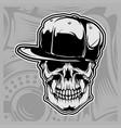 skull wearing cap vector image vector image