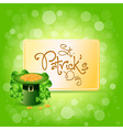St Patricks Day Card with Leprechaun Hat vector image