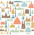 travel world landmarks tile pattern travel sight vector image