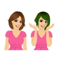 woman with different hairstyles and hair color vector image