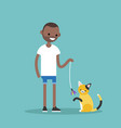 young black character playing with a cat flat vector image