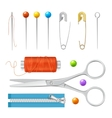Realistic Sewing Tools Accessories Set vector image
