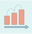 Business graph with red rising bar vector image