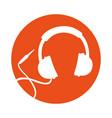 round icon headphones cartoon vector image