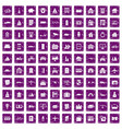 100 property icons set grunge purple vector image vector image