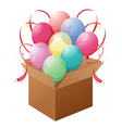 A box with balloons vector image vector image