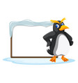 a penguin and blank board vector image vector image